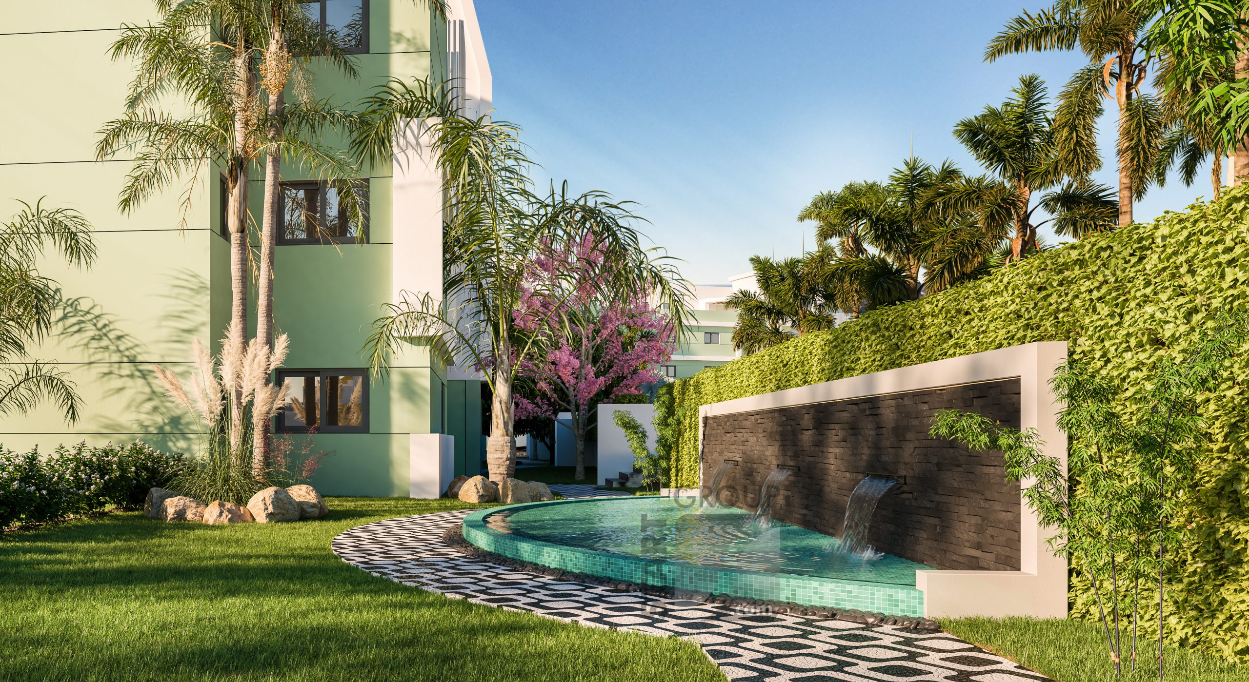 the gardens in this new golf development are inspiered by ipanema